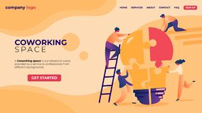 Office Businesspeople in Coworking Place Teamwork. royalty free illustration