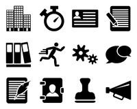 Office and bussines icon set. In black color. Vector illustration Royalty Free Stock Photo