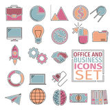 Office and bussines icons four colors. Colored icons with flat outer contour of management on the topic. Stylish icons combine flat style and style line art Royalty Free Stock Photos