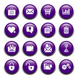 Office buttons. 16 office & computer theme icons on black shiny buttons stock illustration