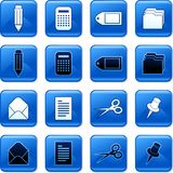 Office buttons. Collection of blue square office rollover buttons Stock Photography