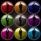 Office buttons coloured. A collection of nine coloured buttons with business men Stock Photo