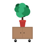 Office cabinet drawers. Plant in a pot on office cabinet drawers wooden with wheels over white background. vector illustration Stock Images