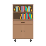 Office cabinet drawers. Wooden with wheels and books over white background. vector illustration Royalty Free Stock Photography