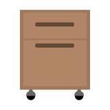 Office cabinet drawers. Wooden with wheels over white background. vector illustration Royalty Free Stock Photo