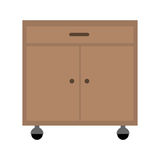 Office cabinet drawers. Wooden with wheels over white background. vector illustration Royalty Free Stock Photography