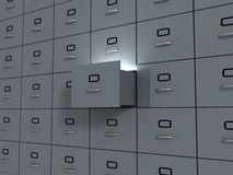 Office cabinet with one open section. 3d Stock Images