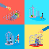 Office Cage Concept Set. Set of square cage office business money conceptual compositions with financial worker character languish in detention vector Stock Photo