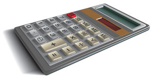 Office calculator. Perspective view, photo-realistic vector illustration Royalty Free Stock Photo