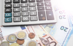 Office calculator and euro currency money Royalty Free Stock Photography