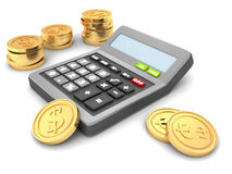 Office calculator with golden dollar coins. 3d Stock Photo
