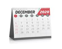 Office Calendar December 2020. December White Office Calendar 2020 Isolated on White Vector Illustration