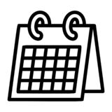 Office calendar icon, outline style royalty free illustration