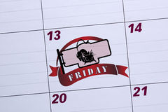 Office calendar marked Friday the 13th. Days of failure Stock Images