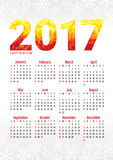 2017 office calendar with snowflakes. And stylized numbers. Vector illustration Stock Images