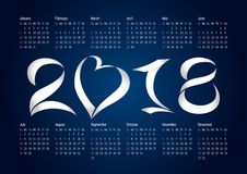 2018 office calendar. For whole year with paper elements. Celebrating congratulating numbers,  schedule A4 210X297 mock up. Blue and white colored greetings Stock Images