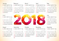 2018 office calendar. For whole year with stained glass flamed elements. Celebrating congratulating numbers, isolated schedule A4 210X297 mock up. Flaming red Stock Photos