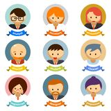 Office Cartoon Character Avatars with Ribbons Stock Photography