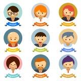 Office Cartoon Character Avatars with Ribbons Stock Photography