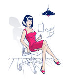 Office cartoon woman Stock Image
