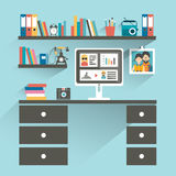 Office cartoon workplace with computer and book shelves. Stock Photos