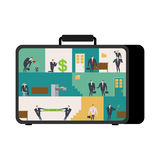 Office in case. mobile Workplace in suitcase. Managers working o Royalty Free Stock Photo