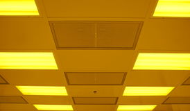 Office ceiling. Kind of office ceiling with lamps Stock Photos