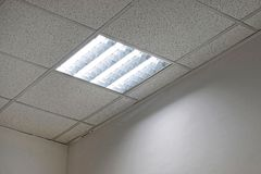 Office ceiling lights. Office ceiling with neon lights Stock Images