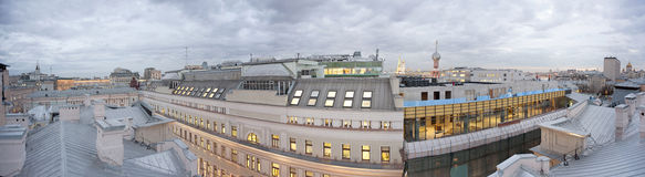 Office center housing. View over the roofs and the old Moscow office center Stock Photo