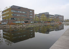 Office centre with park and fish-stocked lake.