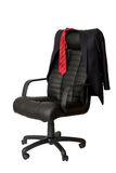 Office chair. Black executive leather chair on a white background Stock Image