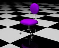 Office Chair. Leather office chair on a checkered floor. 3D rendering Stock Photo