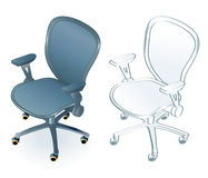 Office chair. Typical office chair in two color/line art variants Stock Photos