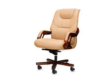 Office chair from beige leather. Isolated Stock Photos