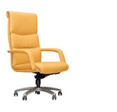 Office chair from beige leather. Isolated Stock Images