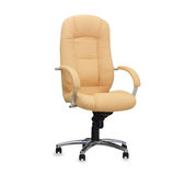 The office chair from beige leather Stock Photo