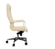 Office chair from beige leather. Isolated Royalty Free Stock Photo