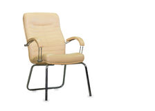 Office chair from beige leather. Isolated Stock Image