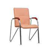 The office chair from beige leather. Isolated Stock Image