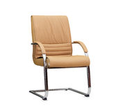 The office chair from beige leather. Isolated Stock Photography
