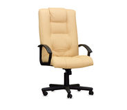 The office chair from beige leather. Isolated Royalty Free Stock Images