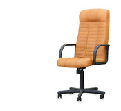 The office chair from beige leather. Isolated Stock Images