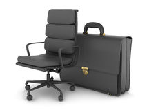 Office chair and black briefcase Royalty Free Stock Image