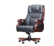 The office chair from black leather. Isolated Royalty Free Stock Photo