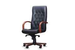The office chair from black leather. Isolated Royalty Free Stock Photography