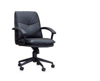 The office chair from black leather Royalty Free Stock Images