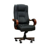 The office chair from black leather Stock Images