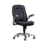 The office chair from black leather Royalty Free Stock Photo