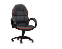 The office chair from black leather. Stock Photo