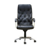 The office chair from black leather. Royalty Free Stock Image
